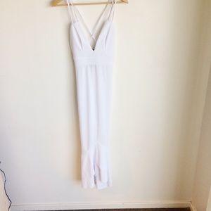 PrettyLittleThing White Flounced Dress Dbl Straps